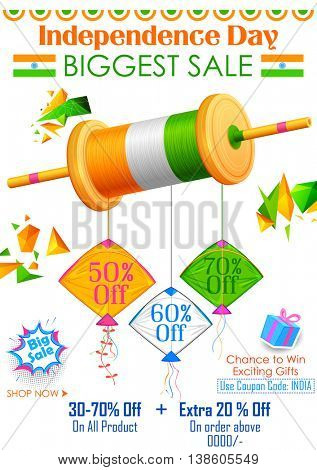 illustration of tricolor kite on India banner with Indian flag for sale and promotion