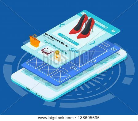 Mobile app development 3d flat isometric illustration with smartphone. Sketch mobile website. The process of developing the site interface.