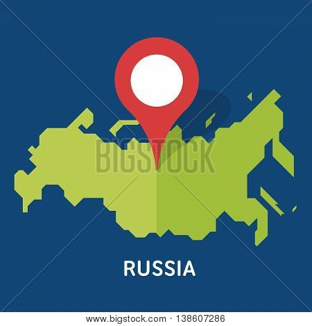 Russian map on white background isolated on blue background. European country. Vector template for website, design, cover, infographics. Graph illustration.