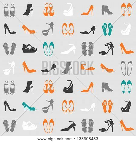 seamless pattern with multicolor different kinds of shoes