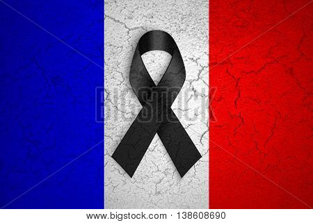 Pray For Paris, Nice, France, Grunge France Country Flag Color Background With Black Ribbon