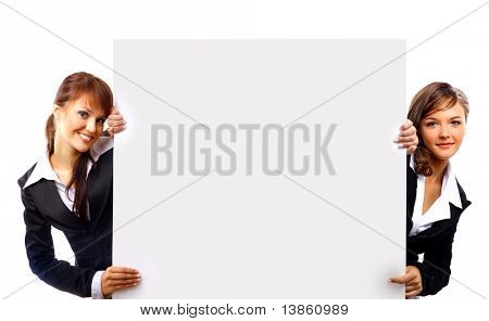 Business man and woman handing a blank business card over white background