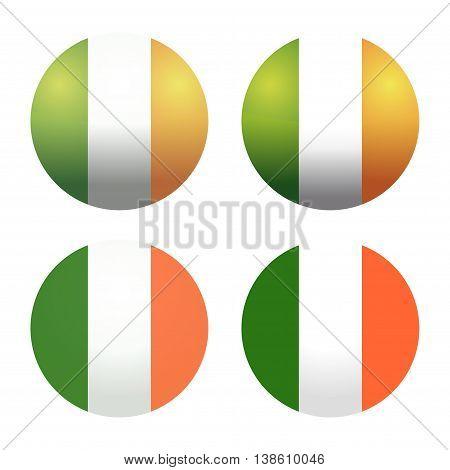 Set round Irish flags. Round Ireland flags. Ireland flag button. Flags of Ireland as round glossy icon. Buttons with Irish flag. Set of vector Irish flags isolated on white background.