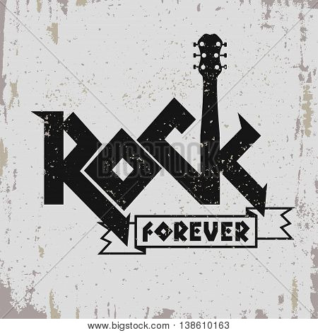 Rock music print, hipster vintage label, graphic design with grunge effect, rock-music tee print stamp design. t-shirt print lettering artwork