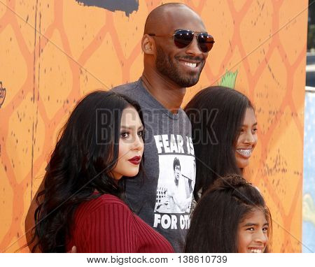 Kobe Bryant, Vanessa Bryant, Gianna Maria Onore Bryant and Natalia Diamante Bryant at the Nickelodeon Kids' Choice Sports Awards 2016 held at the Pauley Pavilion in Westwood, USA on July 14, 2016.