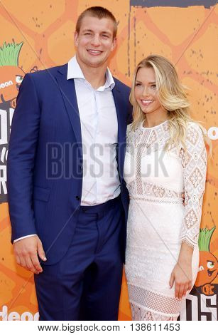 Camille Kostek and Rob Gronkowski at the Nickelodeon Kids' Choice Sports Awards 2016 held at the UCLA's Pauley Pavilion in Westwood, USA on July 14, 2016.
