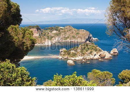 The Isola Bella island and beach in Taormina Italy