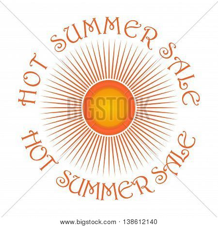 Sun logo icon and inscription - Hot Summer Sale . Cute cartoon sun. Weather summer nature sun star. Editable vector illustration isolated on white background