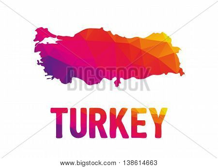 Low polygonal map of Turkey in warm colors Republic of Turkey Turkiye TR - Mosaic colorful abstract geometry cartography icon