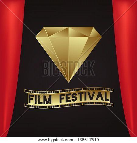 Golden Stone. Sign - Film Festival. Camera film 35 mm roll gold, festival movie poster. Black background. Vector illustration.