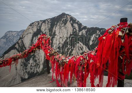 Red ribbon on the top of Mount Huashan