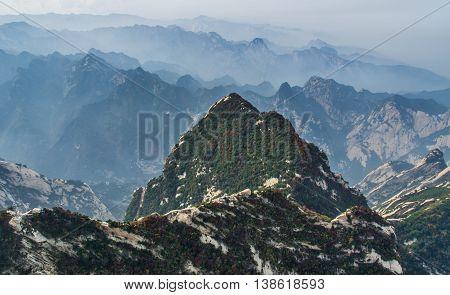 Receding into the distance mountain Huashan, China