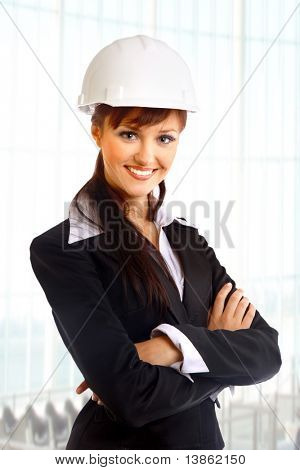 attractive lady architect a over white background