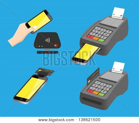 mobile pay vector and credit card . 4 mobile pay versions