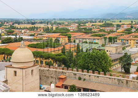 View of the old city from the Leaning Tower. Pisa Italy