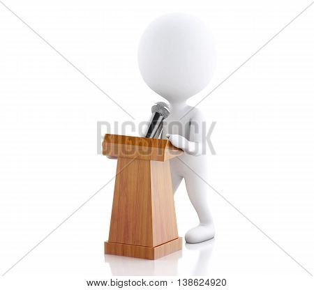 3d renderer image. White people speaking at a press conference. Isolated white background.