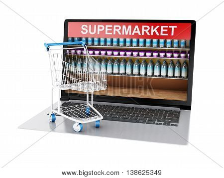 3d renderer image. Online grocery shopping market and trolley. Online shopping concept. Isolated white background.