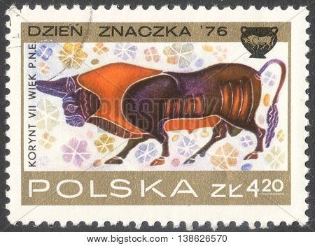 MOSCOW RUSSIA - CIRCA FEBRUARY 2016: a post stamp printed in POLAND shows an image of a bull the series