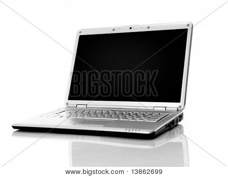 Moderne Laptop isolated on White mit Reflexionen auf Glastisch.