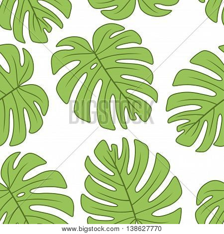 leaf of Monstera deliciosa plant.Vector seamless pattern. Endless texture can be used for wallpaperprinting on fabric paper scrapbooking.