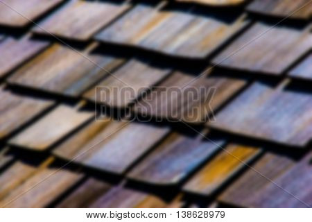 Wooden Roof Shingles Pattern Blurred Background Texture