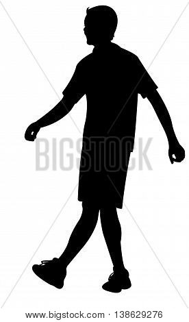 a man wolking, black color silhouette vector