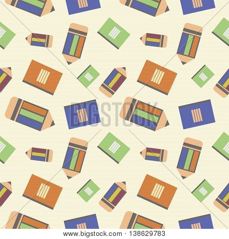 Seamless Vector Pattern, Chaotic Background With Colorful Pencils And Notepads