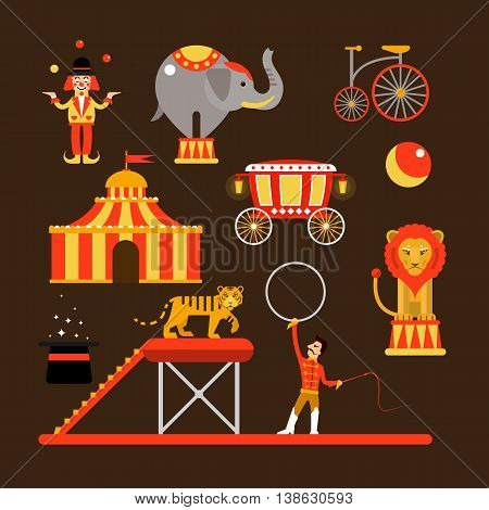 Vector set of circus artists, acrobats and animals isolated on white background. Circus show icons and design elements.
