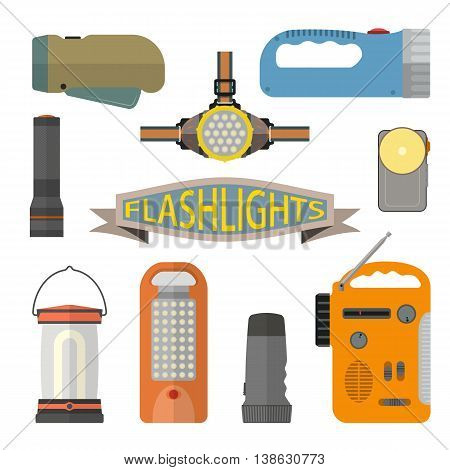 Vector set of flashlights in flat style. Design elements and icons isolated on white background. Headlight, hand lamp, torch.