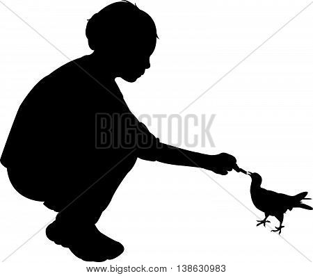 feeding the bird, a girl feeding the bird, silhouette vector