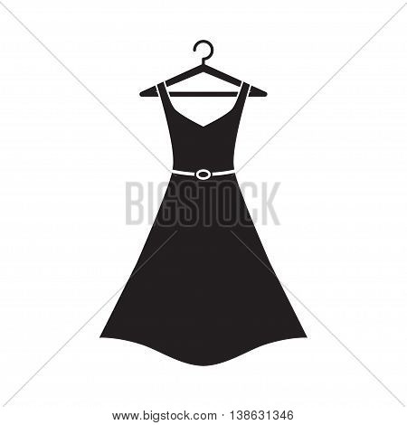 Female long dress with belt on a hanger. Simple icon dress. Black dress. Vector