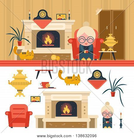Vector set of house living room interior objects in flat style. Design elements and icons isolated on white background. Grandma sitting in chair next to fireplace.