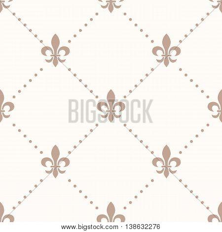 fleur de lis sign and dot, seamless pattern
