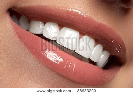 Macro Happy Woman's Smile With Healthy White Teeth.lips Make-up
