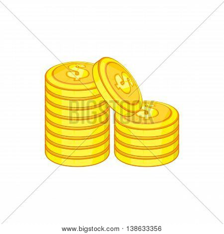 Stack of gold coins icon in cartoon style on a white background