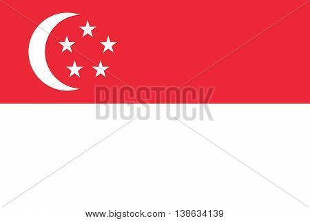 vector illustration of singapore flag original and simple in official colors and proportion correctly isolated background