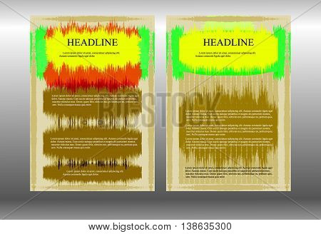 Stock Vector brochure template with jagged strokes of different colors. Displaying two sides or two design options.