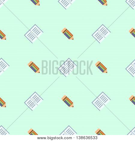 Seamless Vector Pattern, Symmetrical Background With Colorful Pencils
