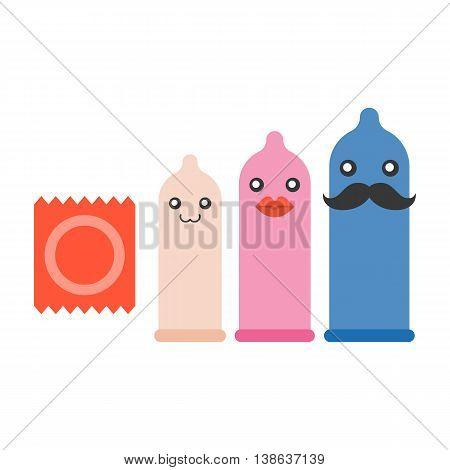 Condom size, character vector set, flat design