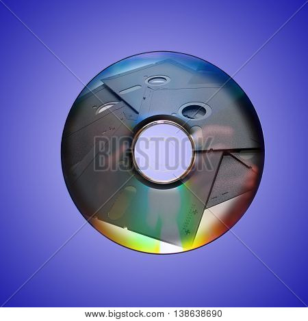 Dvd or cd and old floppy disk inside
