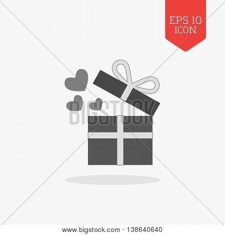 Open Giftbox With Hearts Icon. Flat Design Gray Color Symbol. Modern Ui Web Navigation, Sign.
