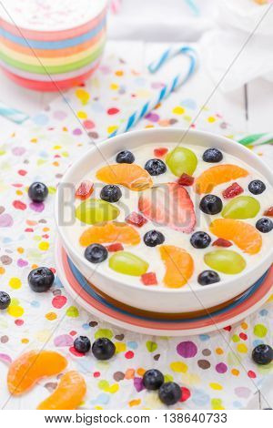 Delicious Milky Vanilla Pudding Colorful Fruit