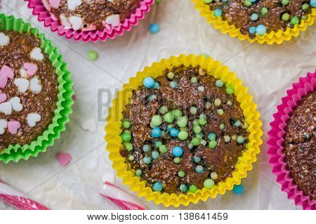 Muffins Colorful Hearts Sweet Cakes Love