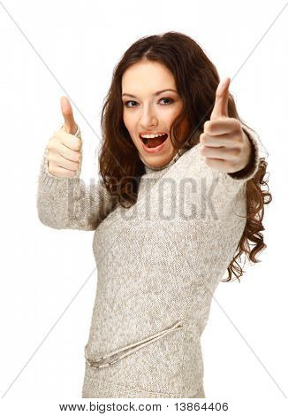 woman smiling with her thumbs up - isolated on white background