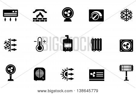 set of air conditioning, fan and heater isolated icons