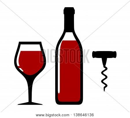 isolated wine bottle, glass and corkscrew on white background