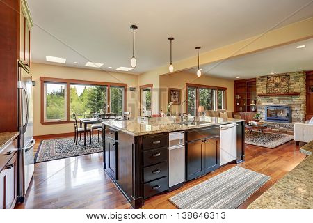 Kitchen Area With Open Floor Plan, View Of Living Room And Dining Room
