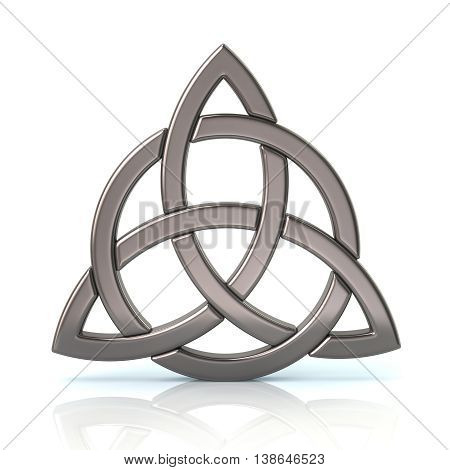 3d illustration. Silver celtic trinity knot isolated on white background