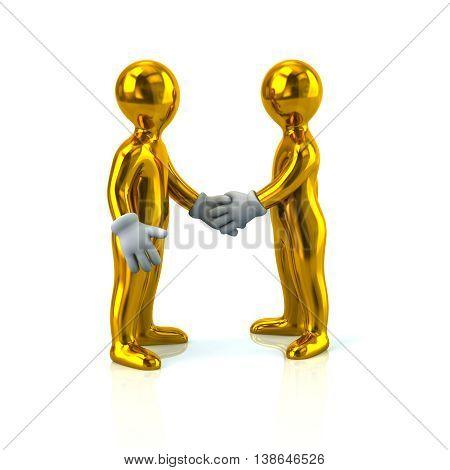 3D Illustration Of Two Golden Business Men Handshake
