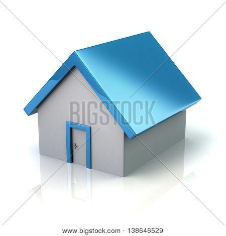 3D Illustration Of Blue Home